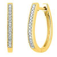 1/10 ct. tw. Diamond Hoop Earrings in 14K Yellow Gold