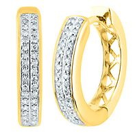 1/7 ct. tw. Diamond Huggie Hoop Earrings in 14K Yellow Gold