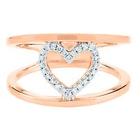 1/10 ct. tw. Diamond Heart Ring in 10K Rose Gold