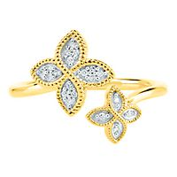 Diamond Flower Ring in 10K Yellow Gold