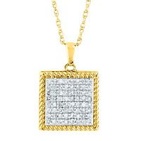 1/4 ct. tw. Diamond Square Pendant in 10K Yellow Gold