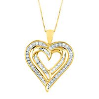 3/8 ct. tw. Diamond Heart Pendant in 10K Yellow Gold