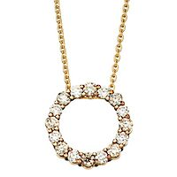 Australian Diamonds 3/4 ct. tw. Golden Diamond Circle Pendant in 14K Yellow Gold
