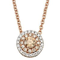 Australian Diamonds 1/2 ct. tw. Golden Diamond Halo Pendant in 14K Rose Gold