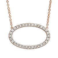 Australian Diamonds 3/4 ct. tw. Golden Diamond Oval Necklace in 14K Rose Gold