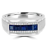 Men's Sapphire & 1/8 ct. tw. Diamond Ring in 10K White Gold