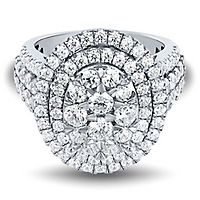 3 ct. tw. Multi-Diamond Oval Engagement Ring in 14K White Gold