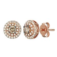 Australian Diamonds 1/2 ct. tw. Golden Diamond Halo Stud Earrings in 14K Rose Gold