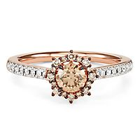 Australian Diamonds 3/4 ct. tw. Golden Diamond Halo Ring in 14K Rose Gold
