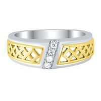 Men's 1/10 ct. tw. Diamond Ring in Sterling Silver & 10K Yellow Gold