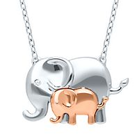 Diamond Elephant Necklace in Sterling Silver & 10K Rose Gold
