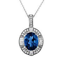 Blue Topaz & 1/7 ct. tw. Diamond Pendant in 10K White Gold
