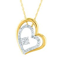1/7 ct. tw. Diamond Heart Pendant in 10K Yellow & White Gold