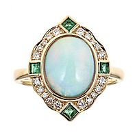 Opal, Emerald & 1/5 ct. tw. Diamond Ring in 10K Yellow Gold