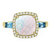 Opal & Topaz Ring in 10K Yellow Gold
