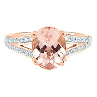 Morganite & 1/10 ct. tw. Diamond Ring in 10K Rose Gold