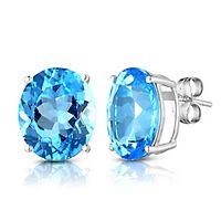 Blue Topaz Stud Earrings in 14K White Gold