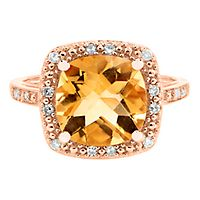 Citrine & 1/10 ct. tw. Diamond Ring in 14K Rose Gold