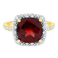 Garnet & 1/10 ct. tw. Diamond Ring in 14K Yellow Gold