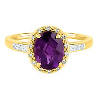 Amethyst & Diamond Ring in 14K Yellow Gold