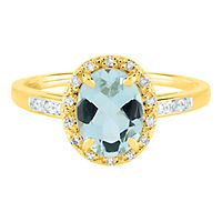 Aquamarine & Diamond Ring in 14K Yellow Gold