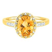 Citrine & Diamond Ring in 14K Yellow Gold