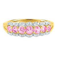 Pink Spinel & 1/10 ct. tw. Diamond Ring in 14K Yellow Gold