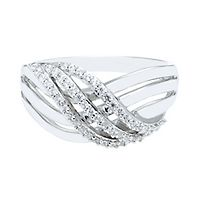 1/4 ct. tw. Diamond Crossover Ring in Sterling Silver