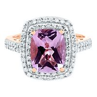 Amethyst & 1/3 ct. tw. Diamond Ring in 10K Rose Gold