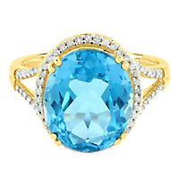 Blue Topaz & 1/5 ct. tw. Diamond Ring in 10K Yellow Gold