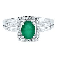 Emerald & 1/7 ct. tw. Diamond Ring in 14K White Gold