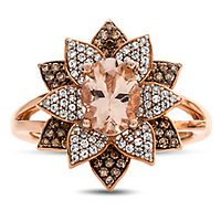 Morganite, 1/2 ct. tw. Champagne & White Diamond Flower Ring in 10K Rose Gold