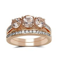 Morganite & 1/2 ct. tw. Diamond Ring Set in 14K Rose Gold