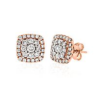 1 ct. tw. Diamond Halo Earrings in 14K Rose Gold