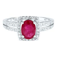 Ruby & 1/5 ct. tw. Diamond Ring in 14K White Gold
