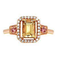 Morganite, Pink Tourmaline & 1/7 ct. tw. Diamond Ring in 10K Rose Gold