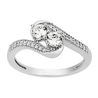1/2 ct. tw. Diamond Two-Stone Ring in 10K White Gold