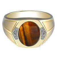 Men's Tiger Eye & Diamond Ring in 10K Yellow Gold