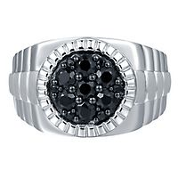 Men's Black Sapphire Rolex Ring in Sterling Silver