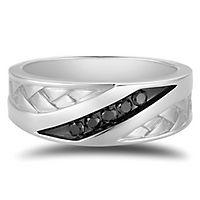 Men's 1/7 ct. tw. Black Diamond Ring in 10K White Gold