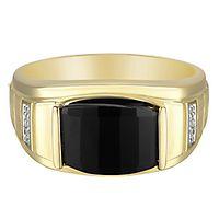 Men's Onyx & Diamond Ring in 10K Yellow Gold