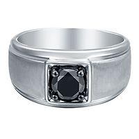 Men's 1 ct. tw. Black Diamond Ring in Sterling Silver