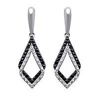 1/5 ct. tw. White & Black Diamond Drop Earrings in 10K White Gold