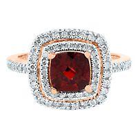 Garnet & 1/3 ct. tw. Diamond Ring in 10K Rose Gold