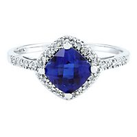 Lab-Created Sapphire & 1/10 ct. tw. Diamond Ring in 10K White Gold