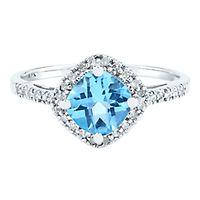 Blue Topaz  & 1/10 ct. tw. Diamond Ring in 10K White Gold