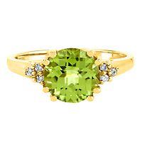 Peridot & Diamond Ring in 10K Yellow Gold