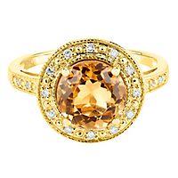 Citrine & Diamond Ring in 10K Yellow Gold