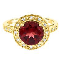 Garnet & Diamond Ring in 10K Yellow Gold