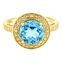 Blue Topaz & Diamond Ring in 10K Yellow Gold